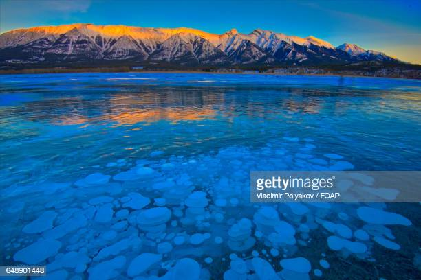Beautiful frozen abraham lake in the morning