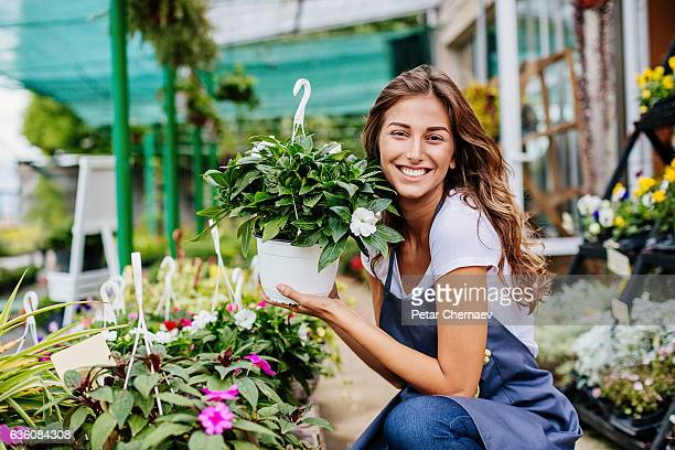beautiful gardener - hanging basket stock pictures, royalty-free photos & images