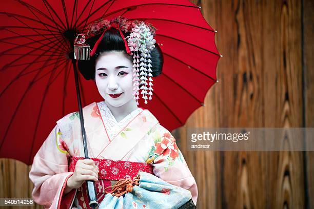 Beautiful geisha smiling