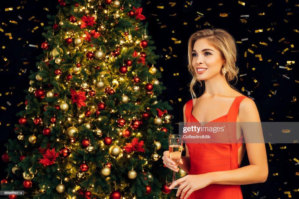 Beautiful girl celebrate christmas : Stock Photo