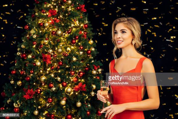 beautiful girl celebrate christmas - happy new month stock photos and pictures