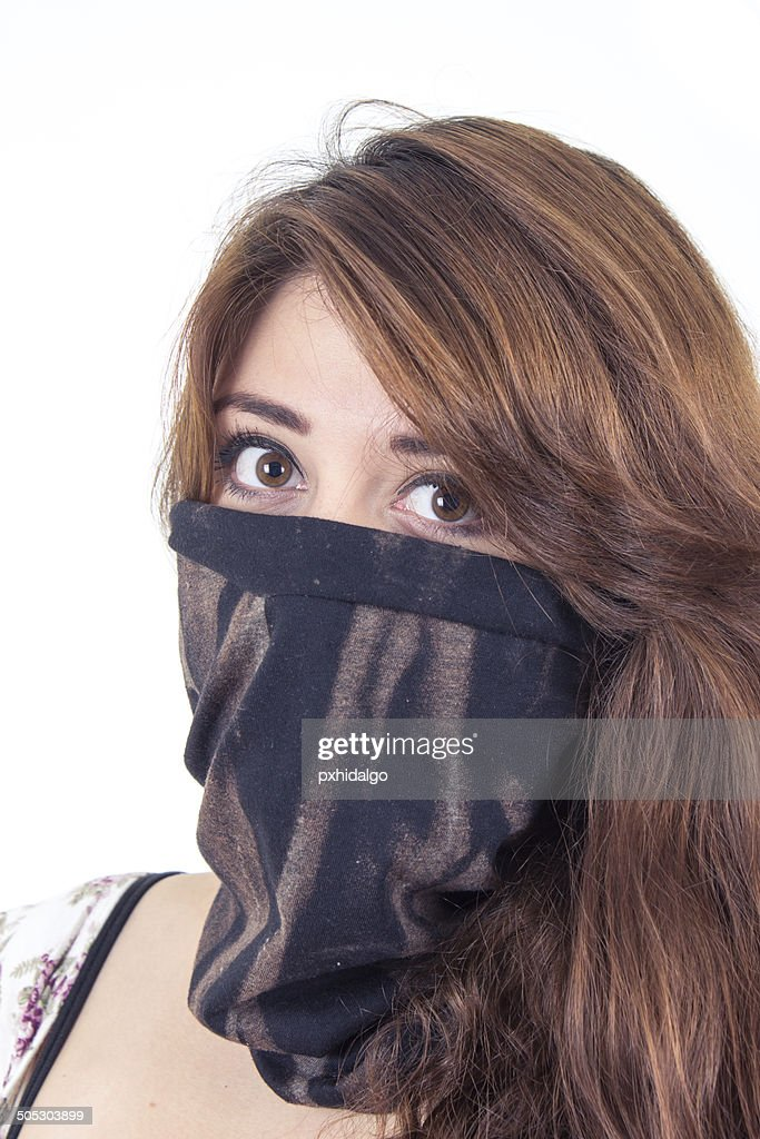 c4b3bafe9a4 Beautiful Girl Covering Her Face With A Black Scarf Stock Photo ...