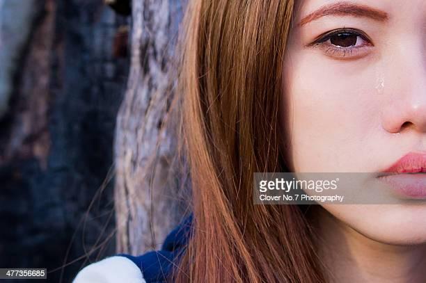 Beautiful girl crying.