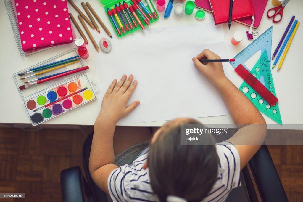 Beautiful Girl Doing Homework : Stock Photo