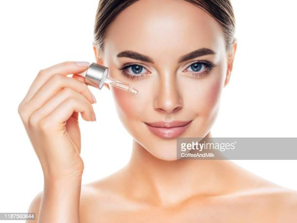 beautiful girl getting skin anti aging treatment - beauty stock pictures, royalty-free photos & images