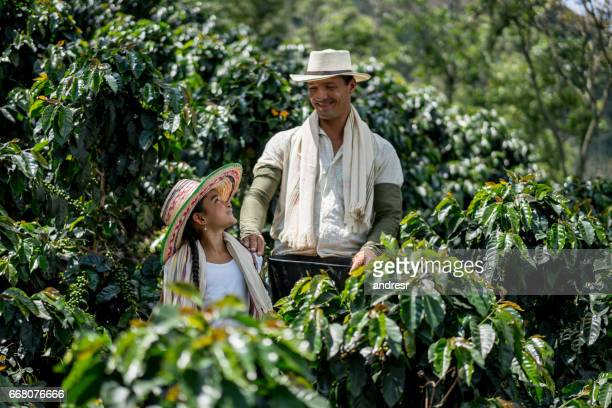 Beautiful girl helping her father collecting coffee beans
