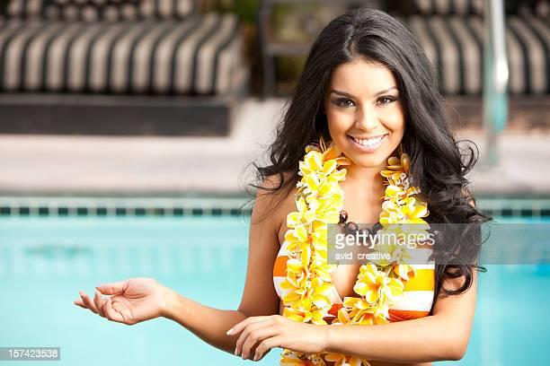 beautiful girl hula dancing - beautiful polynesian women stock photos and pictures