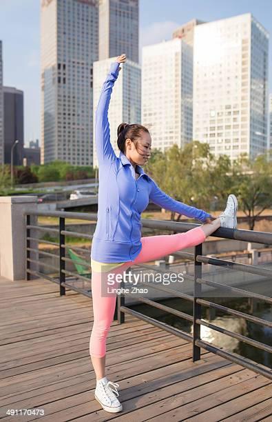 Beautiful girl in practicing yoga
