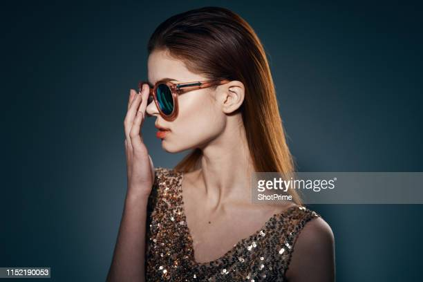 beautiful girl in stylish glasses - vogue stock pictures, royalty-free photos & images