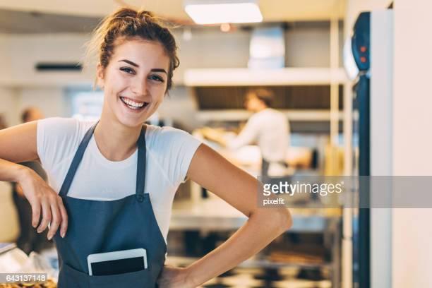 Beautiful girl in the bakery