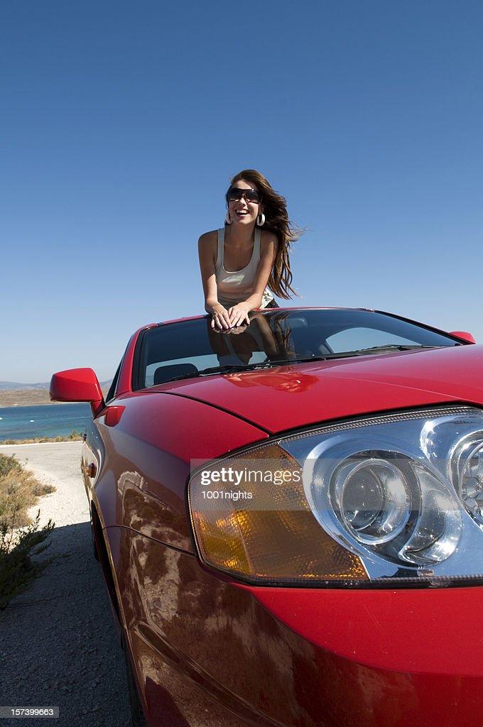 beautiful girl on the car : Stock Photo