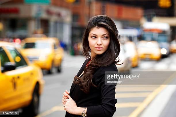 Beautiful girl on the street of New York City