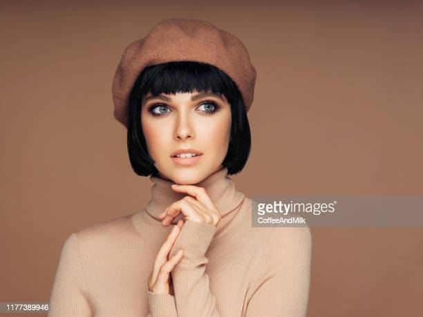 beautiful girl - bobbed hair stock pictures, royalty-free photos & images