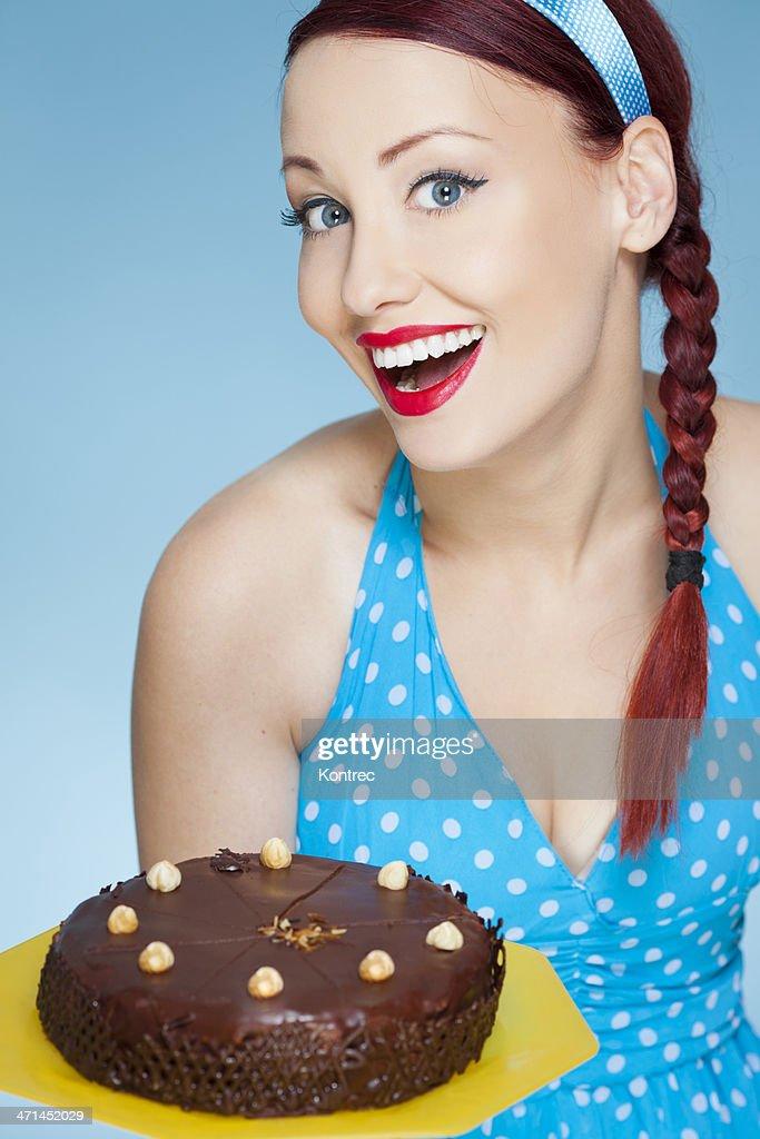 Beautiful Girl Retro Style With Chocolate Cake Stock Photo Getty