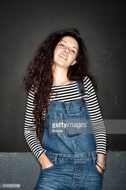 beautiful girl ring flash portrait - bib overalls stock pictures, royalty-free photos & images