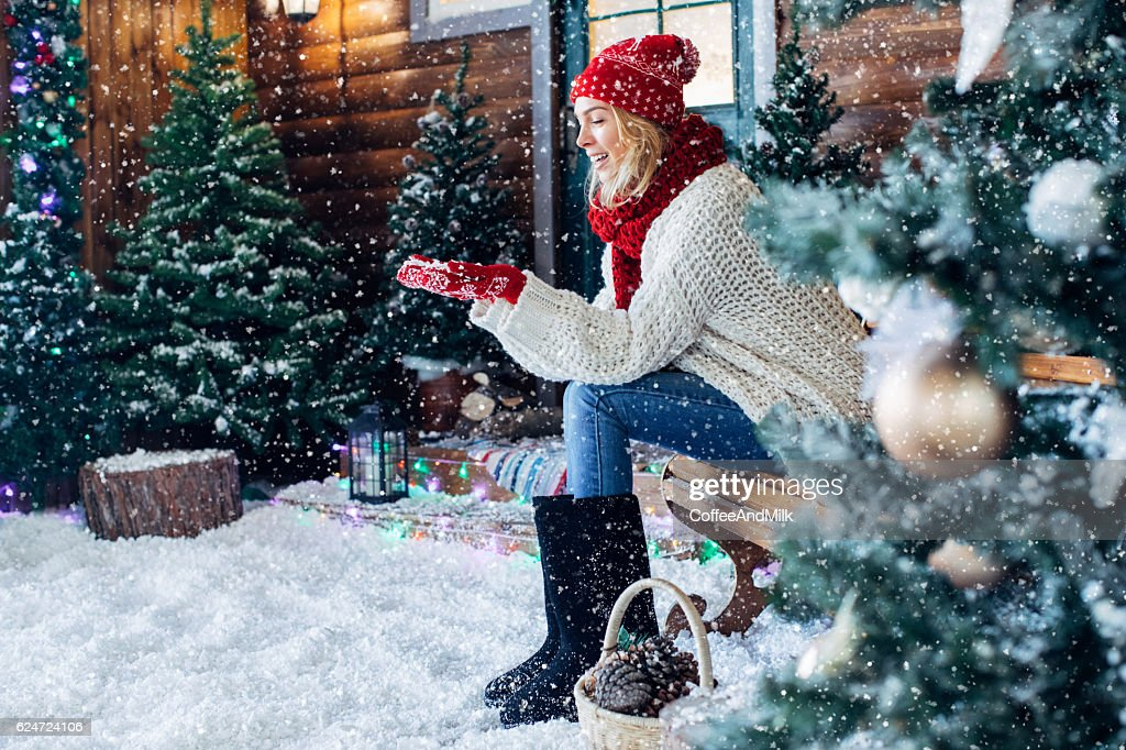 Beautiful girl sitting on a bench : Stock Photo