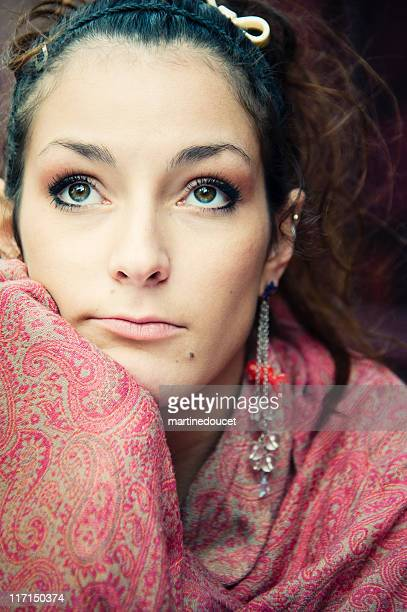 "beautiful girl thinking. - ""martine doucet"" or martinedoucet stock pictures, royalty-free photos & images"