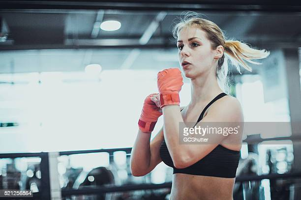 Beautiful Girl warming up for her boxing match