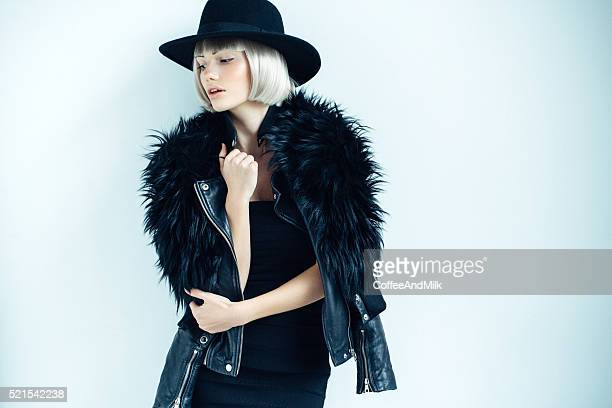 beautiful girl wearing hat - moda stock photos and pictures
