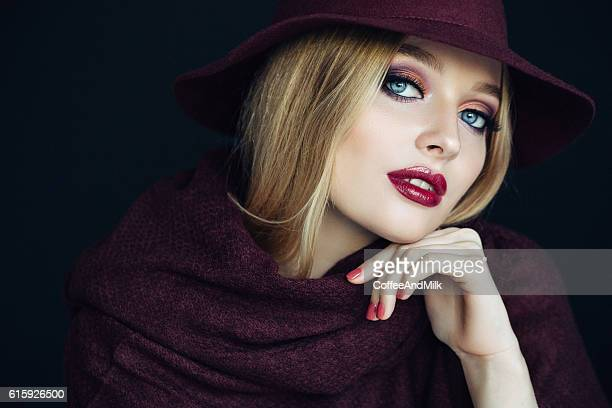 beautiful girl wearing hat - purple hat stock pictures, royalty-free photos & images