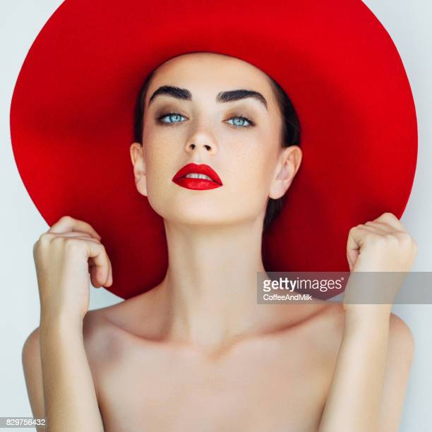 Beautiful girl wearing red hat