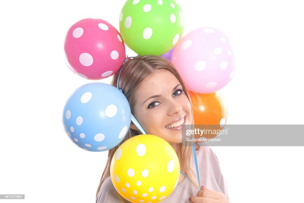 beautiful girl with balloons : Stock Photo