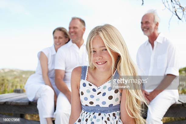 Beautiful girl with her family