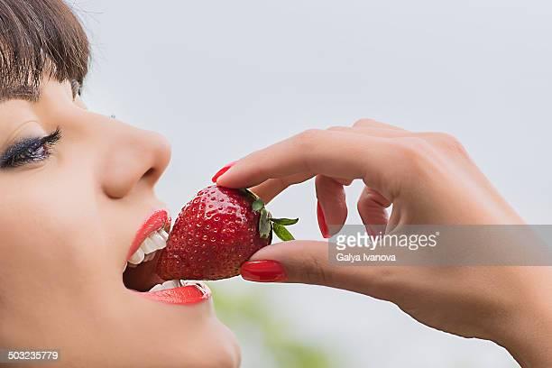 beautiful girl with strawberry
