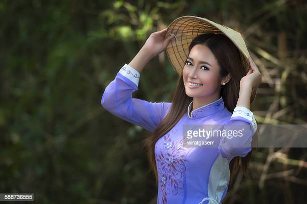 beautiful girl with traditional dress - wiratgasem stock photos and pictures