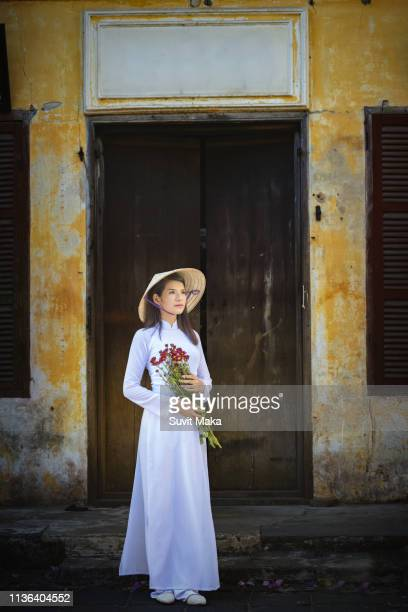 Beautiful girl with Vietnam culture traditional dress