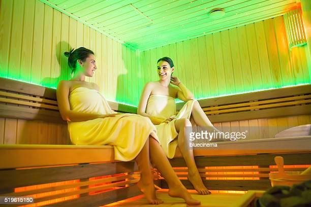 Beautiful girls enjoying in the sauna