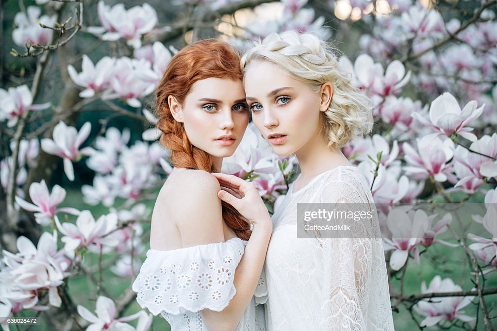Beautiful girls on the background of spring bush : Stock Photo