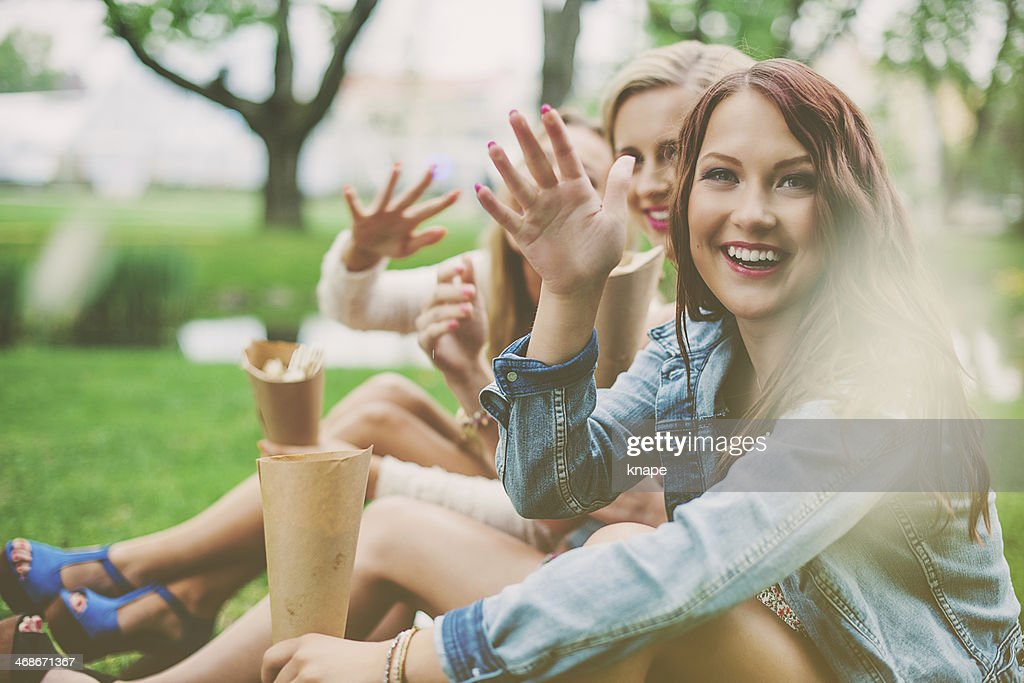 Beautiful girls outdoors in a park : Stock Photo