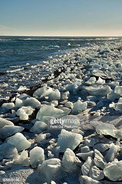 beautiful glacier lagoon landscape at jökulsarlon south of iceland - breidamerkurjokull glacier stock photos and pictures