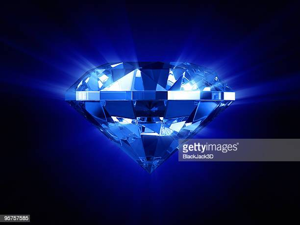 Beautiful glowing blue diamond