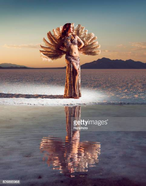 beautiful goddess belly dancer portrait - belly dancing stock photos and pictures