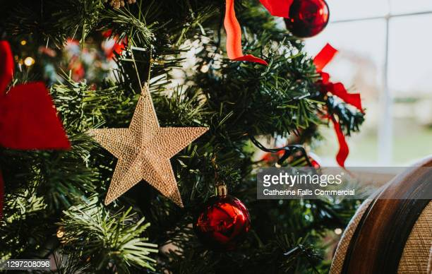 beautiful gold christmas star hanging on a christmas tree - symbolism stock pictures, royalty-free photos & images