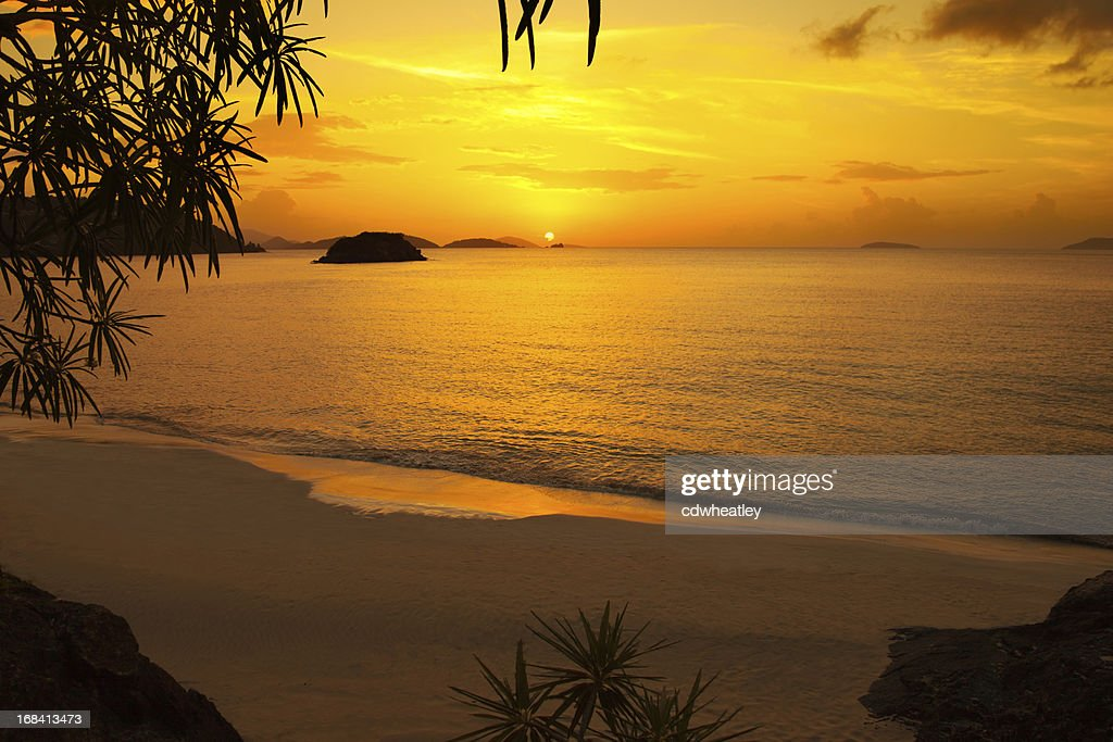 Beautiful Golden Sunset Or Sunrise At The Caribbean Beach Stock Photo