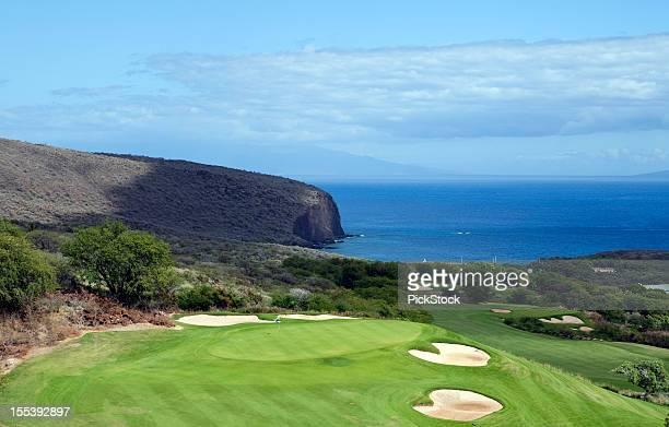 beautiful golf course on lanai hawaii - lanai stock photos and pictures