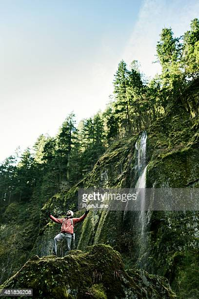 beautiful gorge with excited hiker visible - columbia river gorge stock pictures, royalty-free photos & images