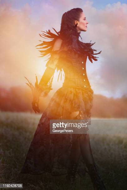 beautiful goth woman walking in field with fall colors - women in suspenders stock pictures, royalty-free photos & images