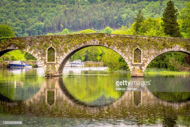 beautiful graiguenamanagh stone bridge with trees in the background on a rainy day, county kilkenny, ireland. - ireland stock pictures, royalty-free photos & images
