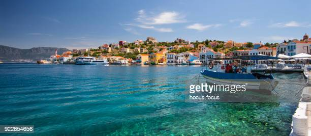 beautiful greek island - dodecanese islands stock photos and pictures