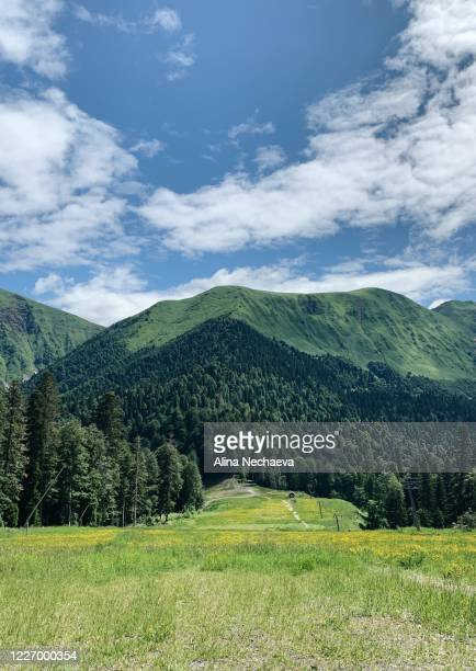 beautiful green mountains landscape with cloudy blue sky - north rhine westphalia stock pictures, royalty-free photos & images