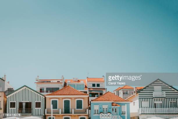 beautiful green portuguese colorful buildings in aveiro,costa nova,portugal - アヴェイロ県 ストックフォトと画像