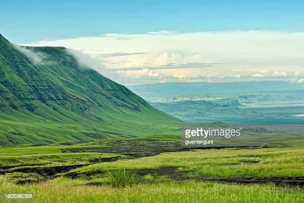 Beautiful green rift valley view from Ol Doinyo Lengai