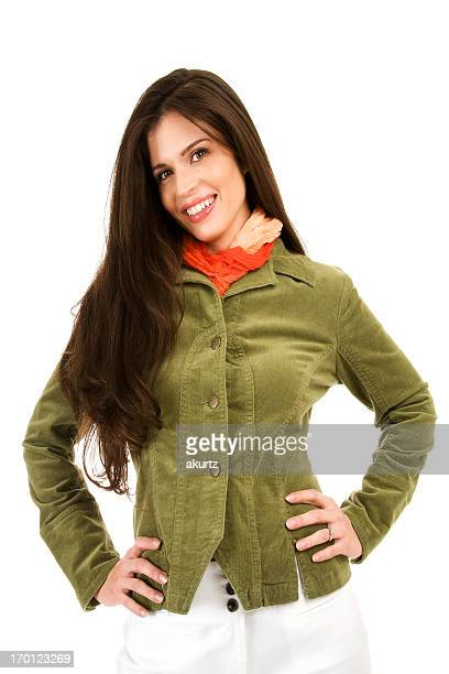Beautiful happy Hispanic business woman smiling looking forward isolated