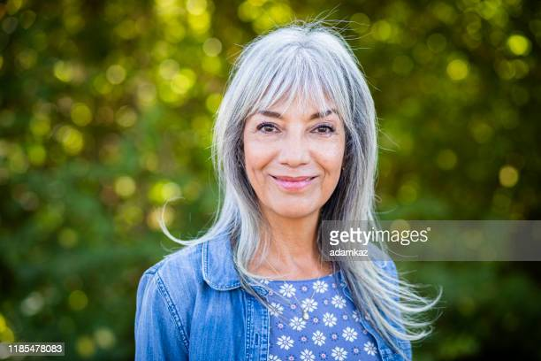beautiful happy senior woman with white hair - white hair stock pictures, royalty-free photos & images