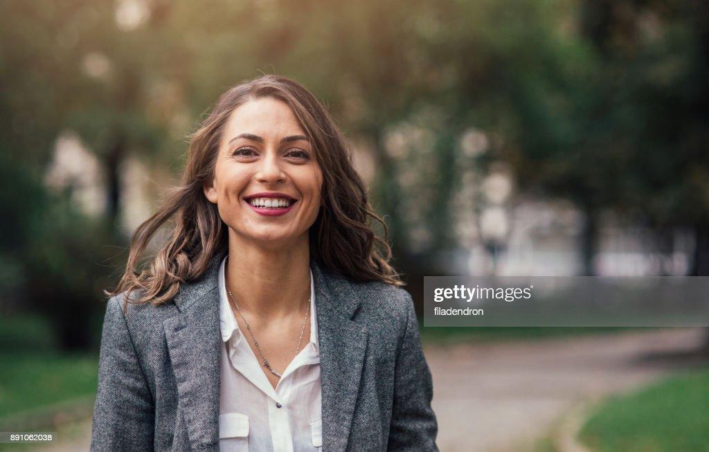 Mooie gelukkige vrouw : Stockfoto