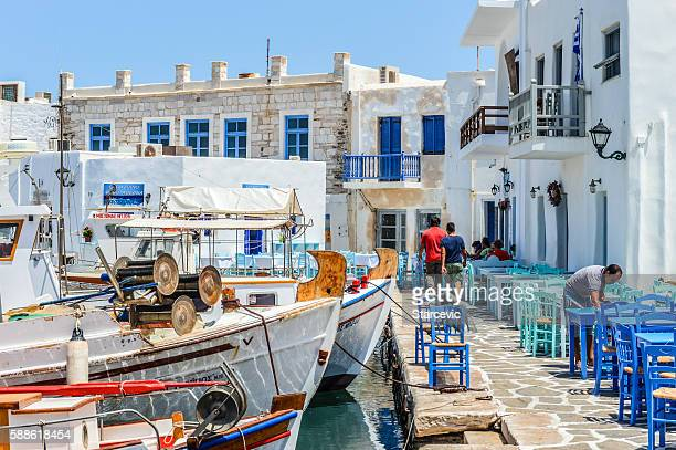 beautiful harbor of naoussa, paros island, greece - cyclades islands stock pictures, royalty-free photos & images
